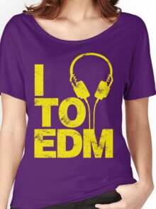 I Listen to EDM (yellow) Women's Relaxed Fit T-Shirt