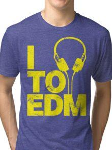 I Listen to EDM (yellow) Tri-blend T-Shirt