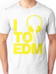I Listen to EDM (yellow) Unisex T-Shirt