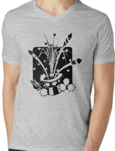 American Symbols, Flag Hat Fireworks-Gray Mens V-Neck T-Shirt