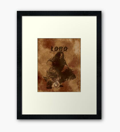 Lobo Silhouette (w/ Full Background) Framed Print