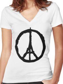 Peace for Paris - black - paix pour Paris - Pray Women's Fitted V-Neck T-Shirt