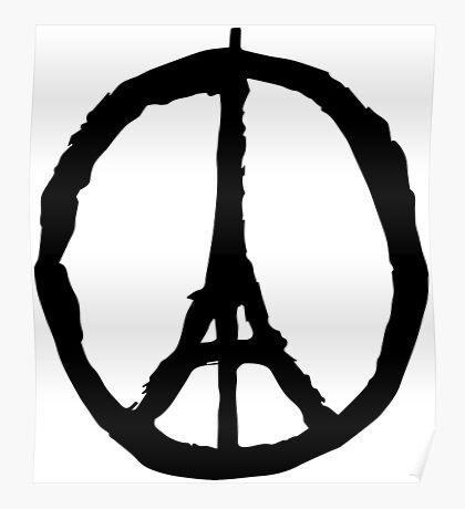 Peace for Paris - black - paix pour Paris - Pray Poster