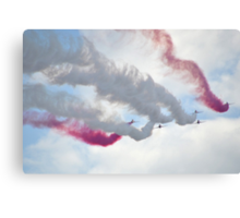 Red Arrows Over Lyme, Dorset Uk -1 Canvas Print