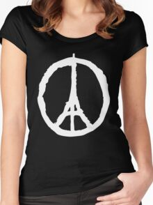 Peace for Paris - white - paix pour Paris - Pray Women's Fitted Scoop T-Shirt