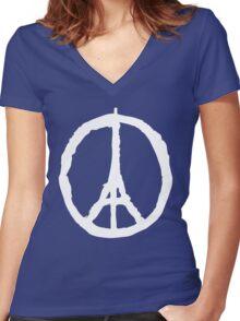 Peace for Paris - white - paix pour Paris - Pray Women's Fitted V-Neck T-Shirt