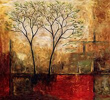 Twin Trees Abstract Oil Painting by Fred Seghetti