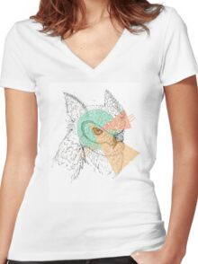 Simplistic Owl Women's Fitted V-Neck T-Shirt
