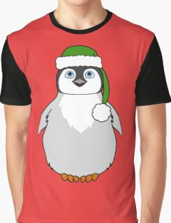 Christmas Penguin with Green Santa Hat Graphic T-Shirt