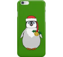 Christmas Penguin with Red Santa Hat, Holly & Gold Jingle Bell iPhone Case/Skin