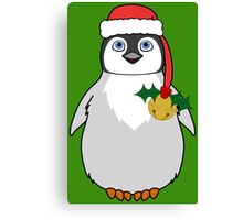Christmas Penguin with Red Santa Hat, Holly & Gold Jingle Bell Canvas Print
