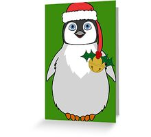 Christmas Penguin with Red Santa Hat, Holly & Gold Jingle Bell Greeting Card