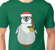 Christmas Penguin with Red Santa Hat, Holly & Gold Jingle Bell Unisex T-Shirt