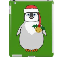 Christmas Penguin with Red Santa Hat, Holly & Gold Jingle Bell iPad Case/Skin