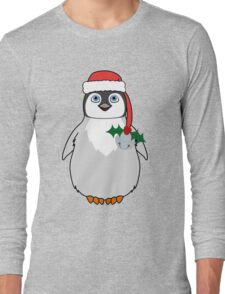 Christmas Penguin with Red Santa Hat, Holly & Silver Jingle Bell Long Sleeve T-Shirt