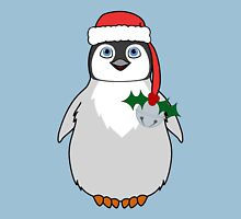 Christmas Penguin with Red Santa Hat, Holly & Silver Jingle Bell Unisex T-Shirt