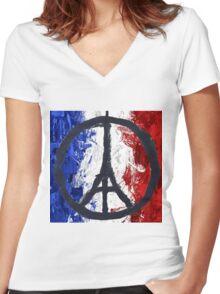 France Des Pray Prières Flag France Women's Fitted V-Neck T-Shirt