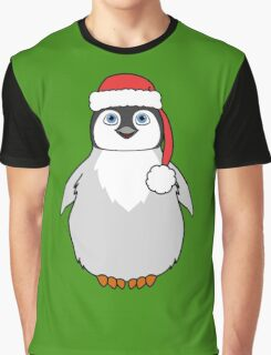Christmas Penguin with Red Santa Hat Graphic T-Shirt