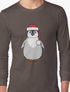 Christmas Penguin with Red Santa Hat Long Sleeve T-Shirt