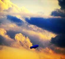Dirigible through clouds over New York City by Alberto  DeJesus
