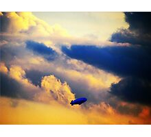 Dirigible through clouds over New York City Photographic Print