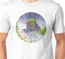 Rocks emerging from a raging waterfall Unisex T-Shirt