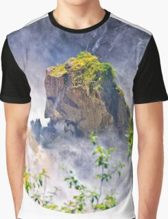 Rocks emerging from a raging waterfall Graphic T-Shirt