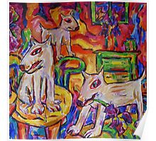 Dogs In Dutch Iris Room Poster