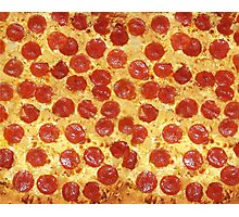 Delicious Pepperoni / Salami Pizza - Pattern with extra cheese Photographic Print
