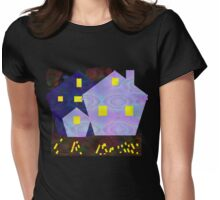 PEACE-Night Time Houses Womens Fitted T-Shirt