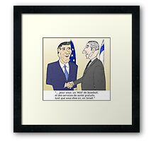 Mitt et Bibi en caricature des news options binaire Framed Print
