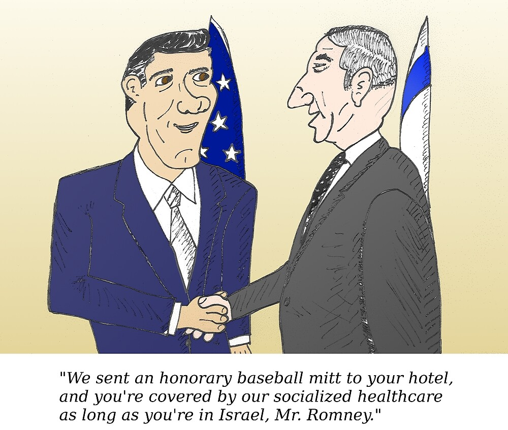 Caricatured Bibi and Romney by Binary-Options