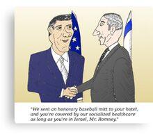Caricatured Bibi and Romney Canvas Print