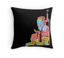 Neon Native Americans Throw Pillow