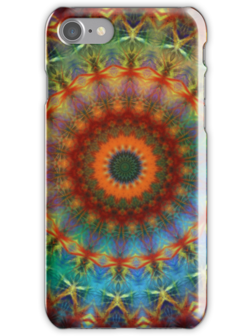 Orange Earth Rainbow mandala iPhone case by Vicki Field