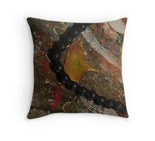 Early Leaf that fell by Garage Door Chain Throw Pillow