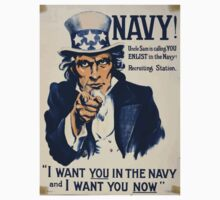 Navy! Uncle Sam is calling you enlist in the Navy! Baby Tee