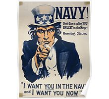 Navy! Uncle Sam is calling you enlist in the Navy! Poster