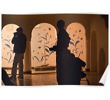 Photographers in silhouette at a heritage building in Rajasthan, India Poster