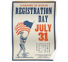 Territory of Hawaii registration day July 31 1 Poster