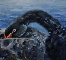 Black Swan Original Oil Painting by Brenda Thour