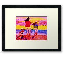 Fun on the beach, watercolor Framed Print