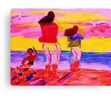 Fun on the beach, watercolor Canvas Print
