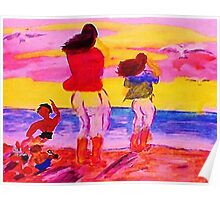 Fun on the beach, watercolor Poster