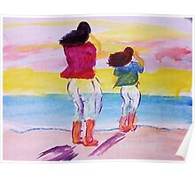 Getting toes wet, watercolor Poster