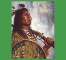 Warrior & his Winchester, Blackfoot, Native American Art, James Ayers Studios Kids Clothes