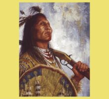 Warrior & his Winchester, Blackfoot, Native American Art, James Ayers Studios One Piece - Short Sleeve