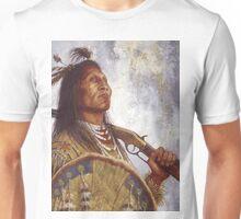 Warrior & his Winchester, Blackfoot, Native American Art, James Ayers Studios Unisex T-Shirt