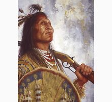 Warrior & his Winchester, Blackfoot, Native American Art, James Ayers Studios Unisex T-Shirt