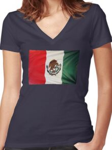 Mexican Flag Women's Fitted V-Neck T-Shirt